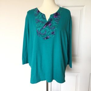 3x$25✅Anthony Richards Teal Top Printed 1X
